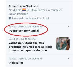 #GoBolsonaroMundial via destaque no Twitter