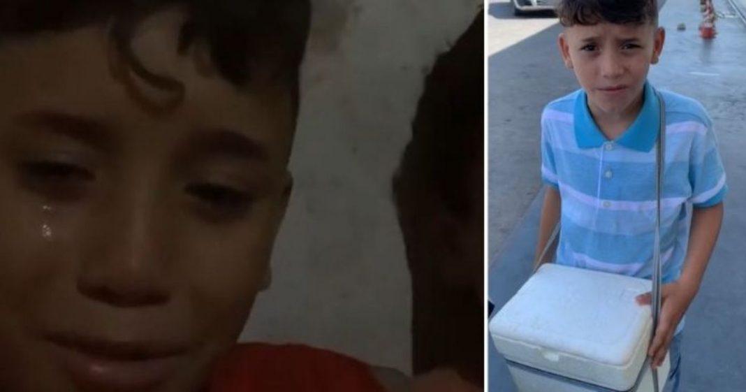 VÍDEO: menino chora após ser denunciado ao Conselho Tutelar por vender água e paçoca