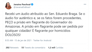 Janaína Pede a prisão do governador do Amazonas.