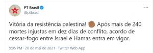PT comemora suposta vitória palestina contra Israel